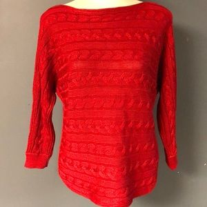 Ralph Lauren Lauren XS cable knit sweater red